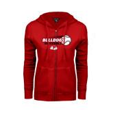ENZA Ladies Red Fleece Full Zip Hoodie-Baseball Stacked w/ Flying Ball