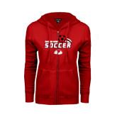 ENZA Ladies Red Fleece Full Zip Hoodie-Soccer w/ Swoosh and Ball