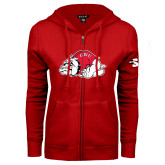 ENZA Ladies Red Fleece Full Zip Hoodie-Bulldog