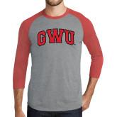 Grey/Red Heather Tri Blend Baseball Raglan-Arched GWU