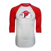 White/Red Raglan Baseball T-Shirt-Bulldog Distressed