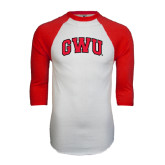 White/Red Raglan Baseball T-Shirt-Arched GWU