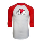 White/Red Raglan Baseball T-Shirt-Bulldog