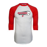 White/Red Raglan Baseball T-Shirt-Baseball Stacked w/ Flying Ball