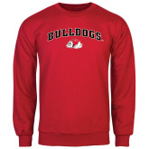 Red Fleece Crew-Arched Bulldogs