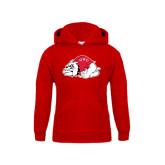 Youth Red Fleece Hoodie-Bulldog