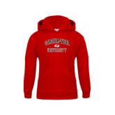 Youth Red Fleece Hoodie-Arched Gardner-Webb University