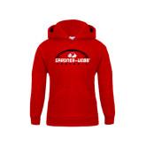 Youth Red Fleece Hoodie-Football Horizontal w/ Ball