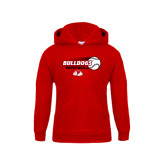 Youth Red Fleece Hoodie-Baseball Stacked w/ Flying Ball