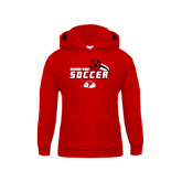 Youth Red Fleece Hoodie-Soccer w/ Swoosh and Ball