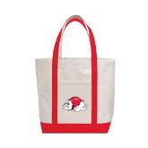 Contender White/Red Canvas Tote-Bulldog