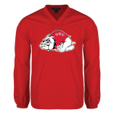 V Neck Red Raglan Windshirt-Bulldog