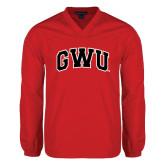 V Neck Red Raglan Windshirt-Arched GWU