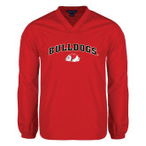 V Neck Red Raglan Windshirt-Arched Bulldogs