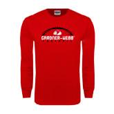 Red Long Sleeve T Shirt-Football Horizontal w/ Ball