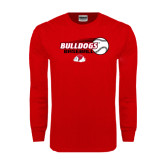Red Long Sleeve T Shirt-Baseball Stacked w/ Flying Ball