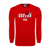 Red Long Sleeve T Shirt-Soccer w/ Swoosh and Ball