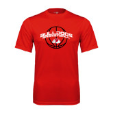Syntrel Performance Red Tee-Basketball Arched w/ Ball