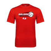 Syntrel Performance Red Tee-Baseball Stacked w/ Flying Ball