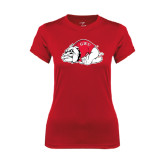 Ladies Syntrel Performance Red Tee-Bulldog