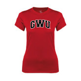 Ladies Syntrel Performance Red Tee-Arched GWU