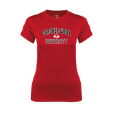 Ladies Syntrel Performance Red Tee-Arched Gardner-Webb University