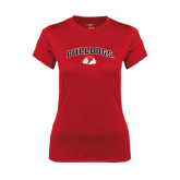 Ladies Syntrel Performance Red Tee-Arched Bulldogs