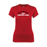 Ladies Syntrel Performance Red Tee-Football Horizontal w/ Ball