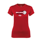Ladies Syntrel Performance Red Tee-Baseball Stacked w/ Flying Ball