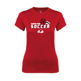 Ladies Syntrel Performance Red Tee-Soccer w/ Swoosh and Ball