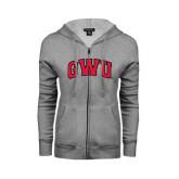 ENZA Ladies Grey Fleece Full Zip Hoodie-Arched GWU