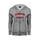 ENZA Ladies Grey Fleece Full Zip Hoodie-Arched Gardner-Webb University