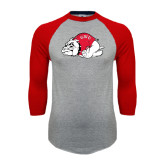 Grey/Red Raglan Baseball T Shirt-Bulldog Distressed