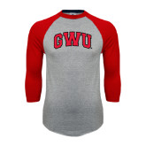 Grey/Red Raglan Baseball T Shirt-Arched GWU