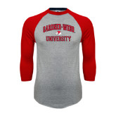 Grey/Red Raglan Baseball T Shirt-Arched Gardner-Webb University
