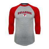Grey/Red Raglan Baseball T Shirt-Arched Bulldogs