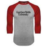 Grey/Red Raglan Baseball T Shirt-Gardner-Webb University