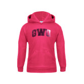 Youth Raspberry Fleece Hoodie-Arched GWU Foil