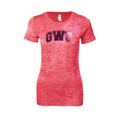 Next Level Ladies Junior Fit Fuchsia Burnout Tee-Arched GWU Foil