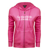 ENZA Ladies Fuchsia Fleece Full Zip Hoodie-Gardner-Webb University