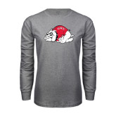 Grey Long Sleeve T Shirt-Bulldog Distressed