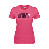 Ladies Fuchsia T Shirt-Arched GWU Foil