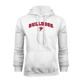 White Fleece Hoodie-Arched Bulldogs