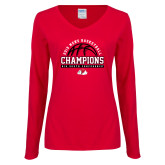 Ladies Red Long Sleeve V Neck Tee-2019 Mens Basketball Chmapions