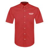 Red Twill Button Down Short Sleeve-Gardner-Webb University