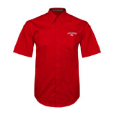 Red Twill Button Down Short Sleeve-Arched Bulldog