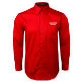 Red Twill Button Down Long Sleeve-Gardner-Webb University