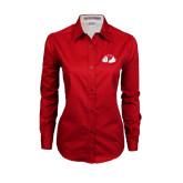 Ladies Red Twill Button Down Long Sleeve-Bulldog