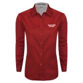 Ladies Red Twill Button Down Long Sleeve-Gardner-Webb University