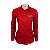 Ladies Red Twill Button Down Long Sleeve-Arched GWU
